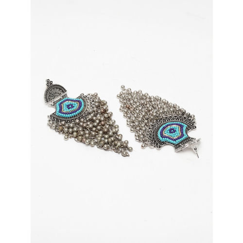 Moedbuille Silver-Plated & Turquoise Blue Crescent Shaped Drop Earrings