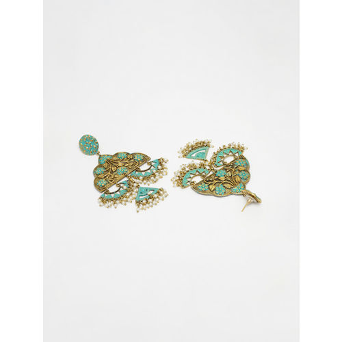 AKS Gold-Plated & Turquoise Blue Handcrafted Contemporary Drop Earrings