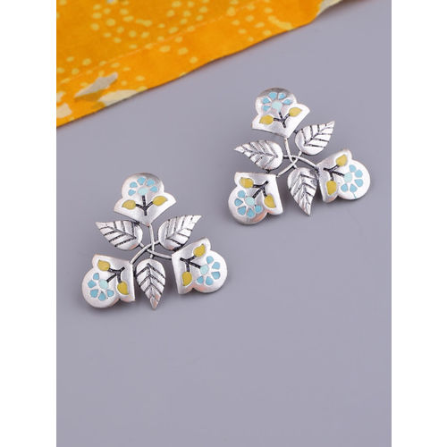 Studio Voylla Silver-Plated Leaf Shaped Studs
