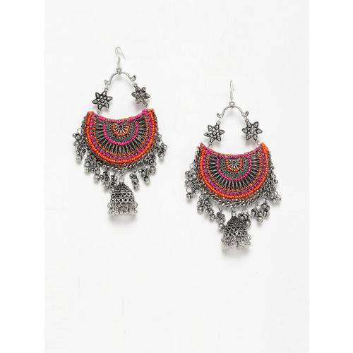 Moedbuille Pink & Silver-Toned Dome Shaped Jhumkas