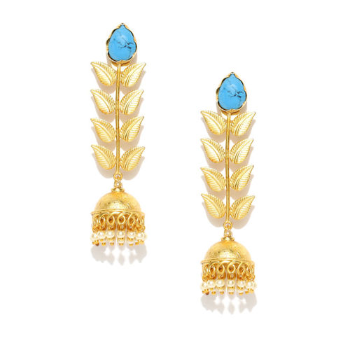 Priyaasi Turquoise Blue Gold-Plated Handcrafted Leaf Shaped Stone-Studded Jhumka Earrings