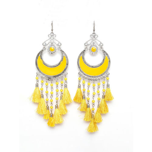 Moedbuille Yellow & Silver-Plated Tasselled Crescent Shaped Drop Earrings