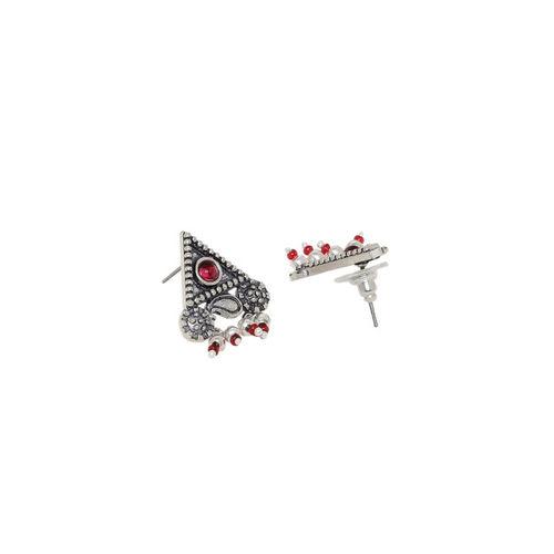 Voylla Maroon Silver-Plated Triangular Drop Earrings