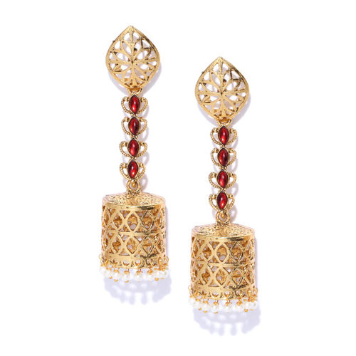 Priyaasi Red Gold-Plated Handcrafted Stone-Studded Beaded Dome Shaped Jhumkas