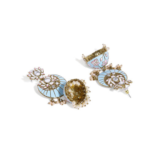 Zaveri Pearls Gold-Toned & Turquoise Blue Dome Shaped Jhumkas