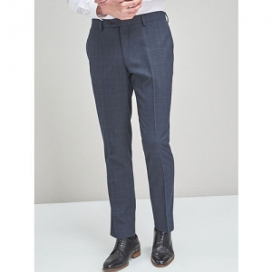 next Men Navy Blue Regular Fit Checked Formal Trousers