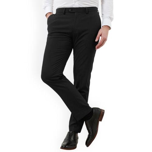 next Men Black Slim Fit Solid Formal Trousers