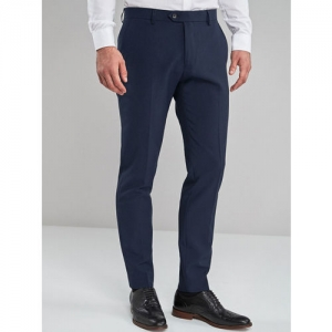next Men Navy Blue Skinny Fit Solid Formal Trousers