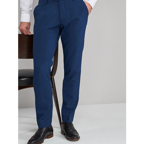 next Men Blue Skinny Fit Solid Formal Trousers