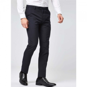 next Men Navy Blue Slim Fit Solid Formal Trousers