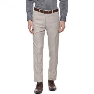 Van Heusen Men Grey Slim Fit Self Design Formal Trousers