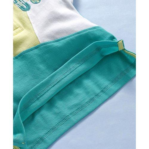 Babyhug Half Sleeves Tee Text Embroidery - White Yellow Green