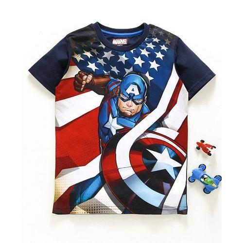 Tambourine Captain America Printed Half Sleeves Tee - Black