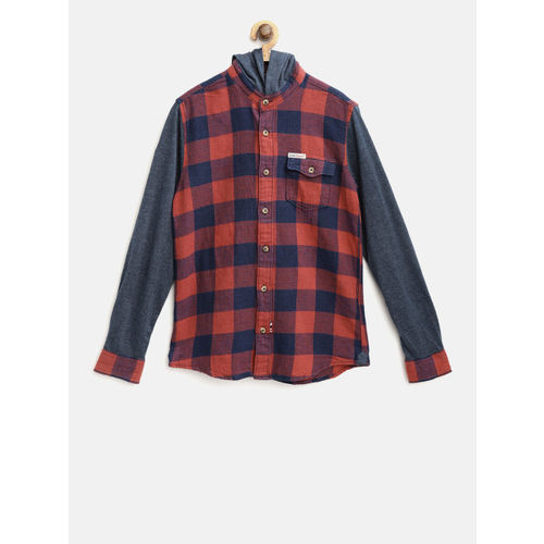 U.S. Polo Assn. Kids Boys Rust Red & Navy Blue Regular Fit Checked Hooded Casual Shirt