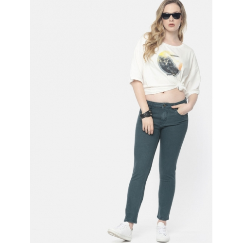 Roadster Women Teal Skinny Fit Mid-Rise Clean Look Stretchable Jeans