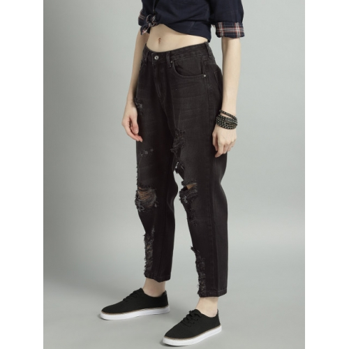 Roadster Women Black Mid-Rise Highly Distressed Jeans