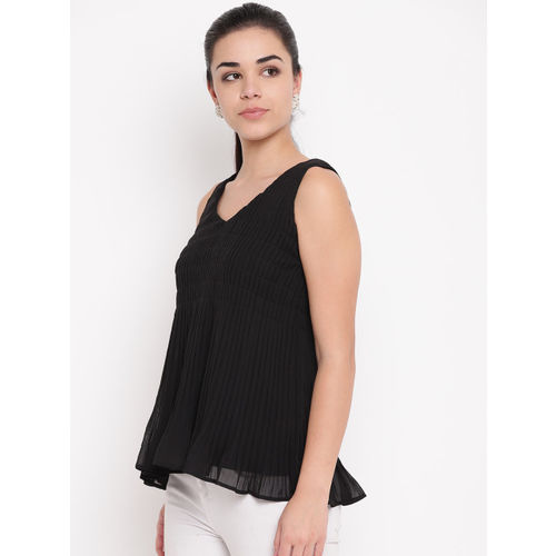 NIZA Women Black Solid Pleated A-Line Top