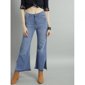 Roadster Women Blue Flared Mid-Rise Clean Look Cropped Jeans