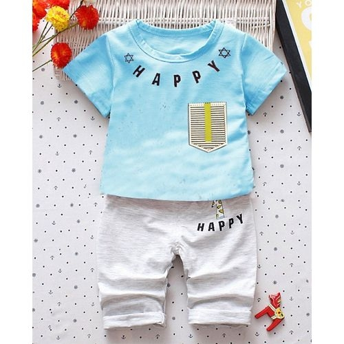 Awabox Happy Print Short Sleeves Tee & Shorts Set - Blue