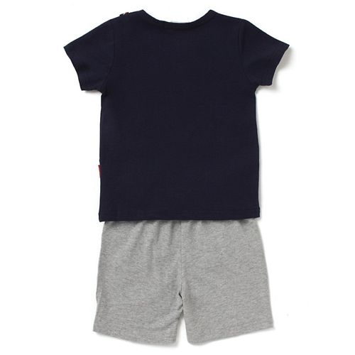 Awabox Muscle Printed Half Sleeves Tee & Shorts Set - Black & Grey
