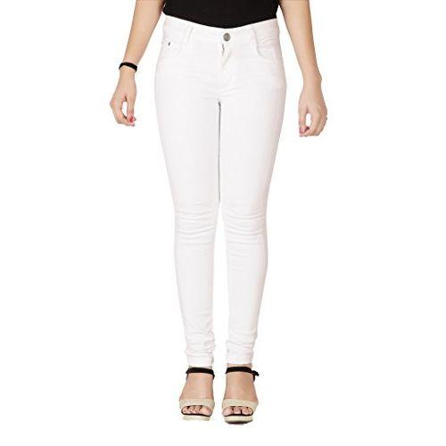 FLIRT NX Women's Denim Stretchable White Slim Fit Jeans