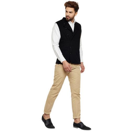 Hypernation Men Black Double-Breasted Nehru Jacket