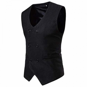 Fyou Men's Autumn Winter Formal Double-Breasted Suede Suit Waistcoat Vest Jacket Coat