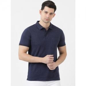 Cloak & Decker by Monte Carlo Men Blue Solid Polo Collar T-shirt