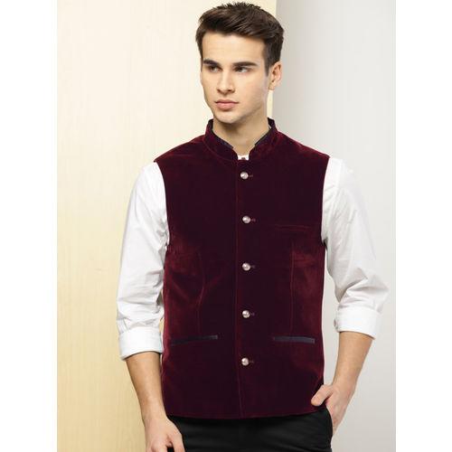 INVICTUS Men Maroon Solid Slim Fit Velvet Nehru Jacket