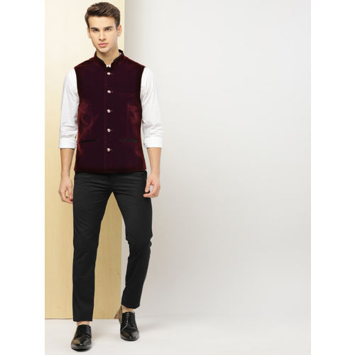 INVICTUS Men Maroon Solid Slim Fit Velvet Nehru Jacket