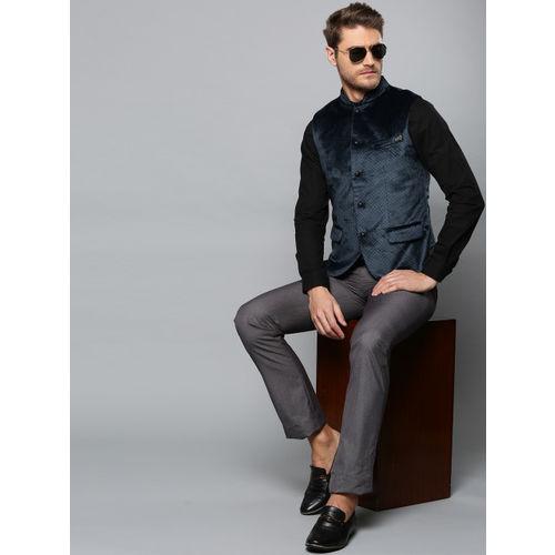 Blackberrys Men Navy Blue Printed Slim Fit Velvet Finish Smart Casual Nehru Jacket