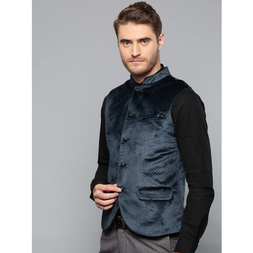 Blackberrys Men Navy Blue Printed Slim Fit Velvet Finish Smart Casual Nehru Jacket