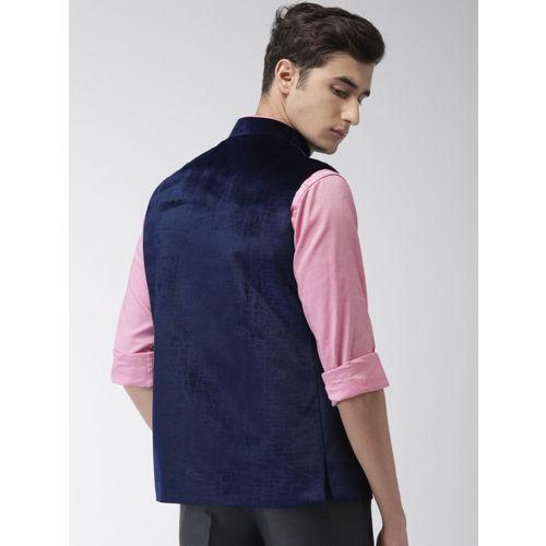 Ethnix by Raymond Navy Blue Self-Design Nehru Jacket with a Velvet Finish