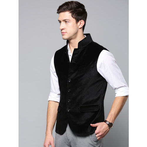 Blackberrys Men Black Solid Velvet Finish Slim Fit Nehru Jacket