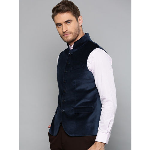 Blackberrys Men Teal Blue Solid Velvet Finish Slim Fit Nehru Jacket