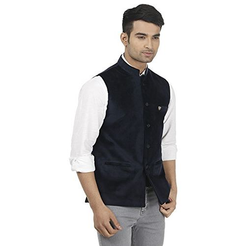 PLATINUM STUDIO Men Solid Nehru Jacket, Navy Blue