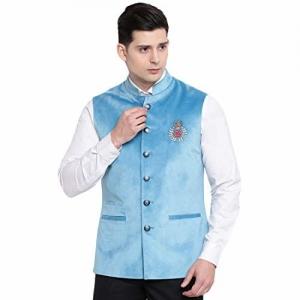 suitsmith Velvet Embroidered Nehru Jacket for Men, Mens Slim Fit Jacket/Waistcoat for Casual Festivalwear, Blue