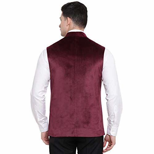 suitsmith Embroidered Velvet Nehru Jacket for Men, Mens Slim Fit Jacket/Waistcoat for Casual Festivalwear, Maroon