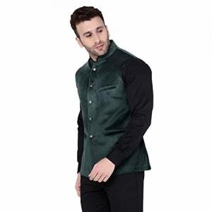 TAG 7 Green Coloured Velvet Nehru Jacket