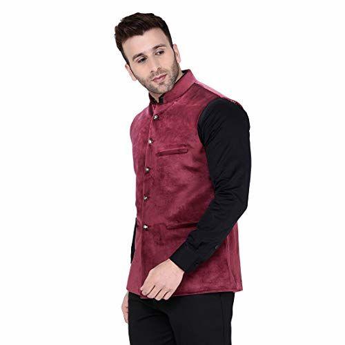 TAG 7 Wine Coloured Velvet Nehru Jacket