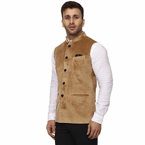 Veera Paridhaan Plain Chinese Collar Sleeveless Velvet Nehru Jacket
