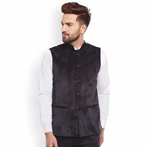 Hancock Black Solid Nehru Jacket-8011black