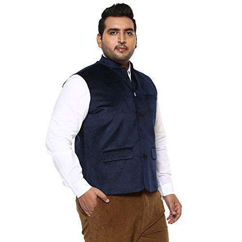John Pride Men Blue Coloured Nehru Jacket (Sizes: 2XL- 5XL)