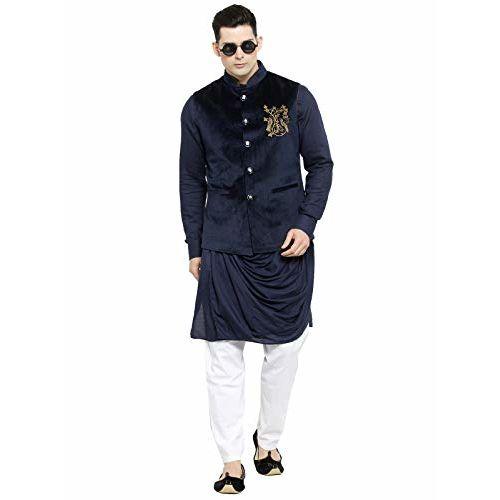 LUXURAZI The Ethnic Affaire Embroidered Velvet bandhgala jodhpuri Nehru Jacket vest waistcoat