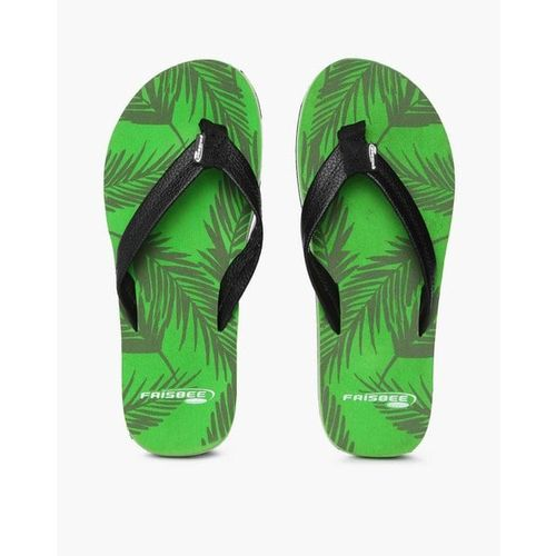 FRISBEE Leaf Print Thong-Style Flip-Flops