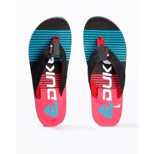 DUKE Striped Thong-Style Flip-Flops with Branding