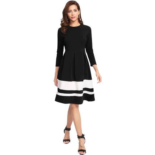 ILLI LONDON Black Polyester Knee Length Shift Dress