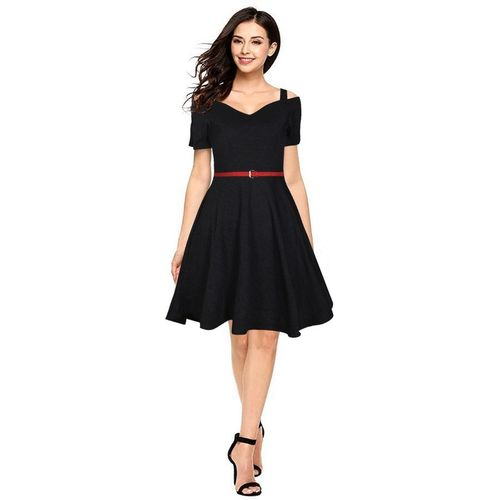 FIESTREE Women Skater Black Dress