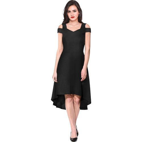 ILLI LONDON Black  Polyester Solid High Low Dress