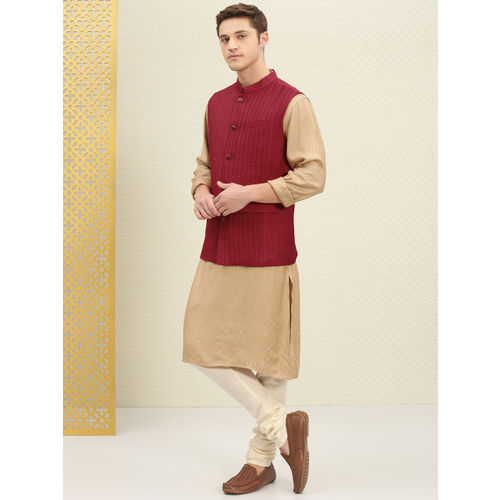 House of Pataudi Men Maroon Pleated Nehru Jacket